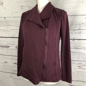 H BY BORDEAUX Asymmetrical Moto Fleece Jacket